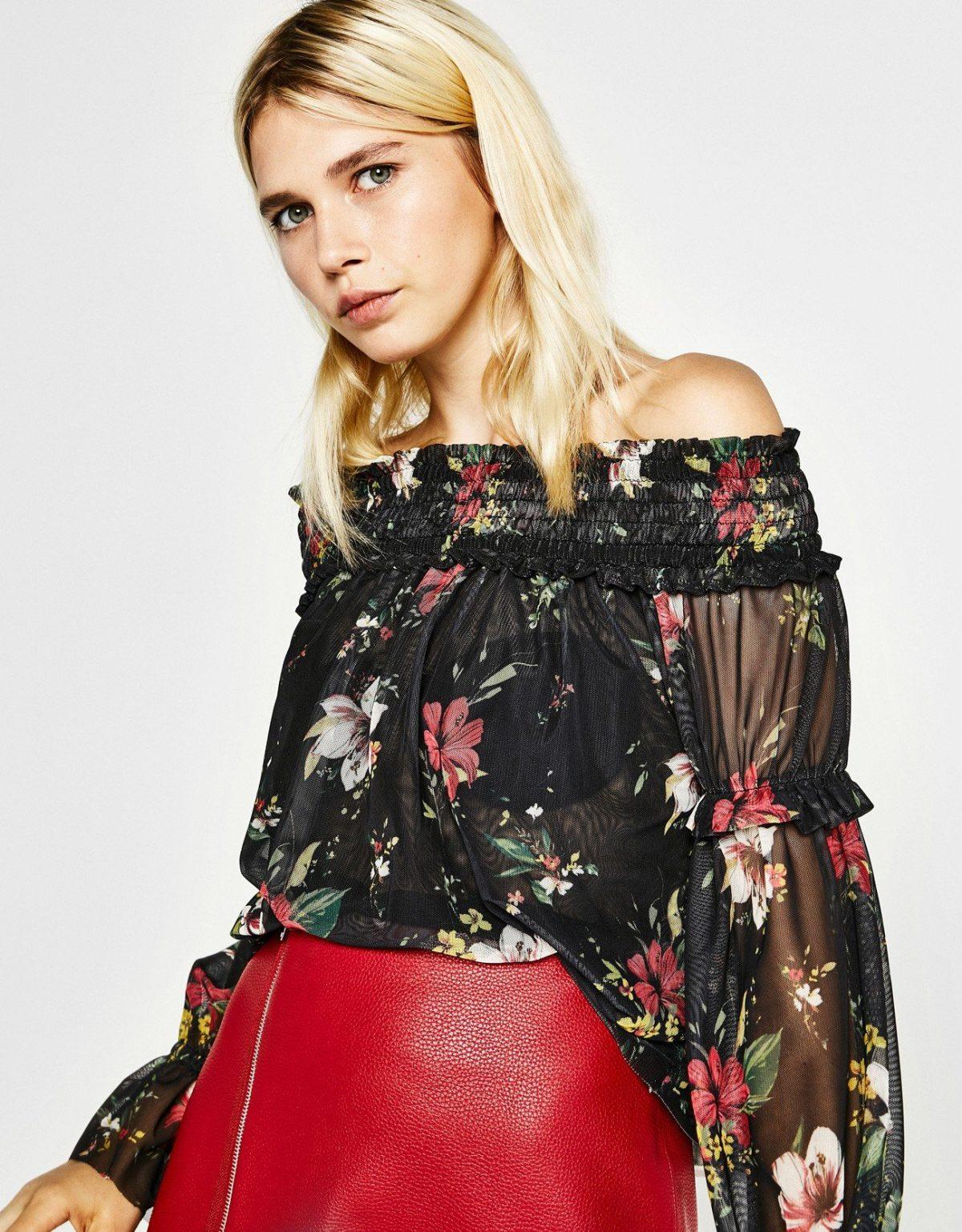 шифоновая блуза цветочный принт