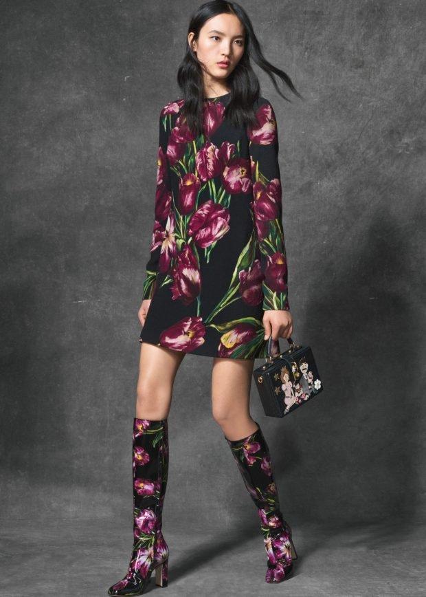 платье и сапоги цветочный