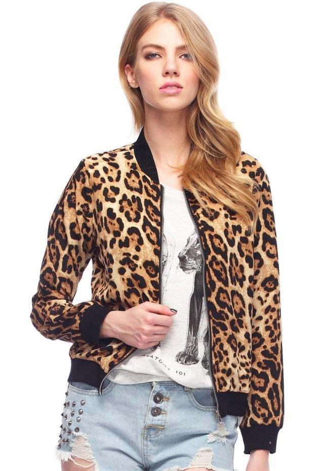 модные принты осень зима 2021: бомбер леопардовый