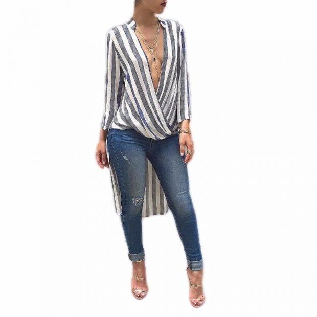 удлиненная блуза в полоску