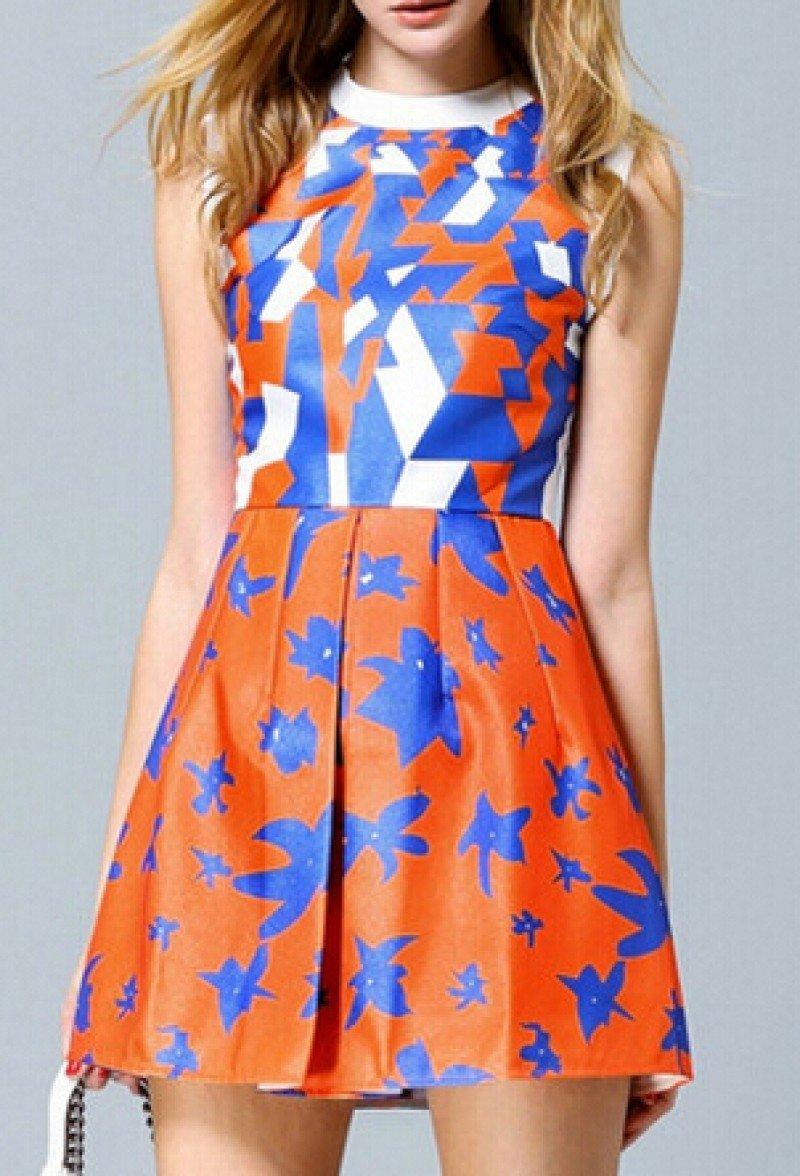 платье без рукавов геометрический принт