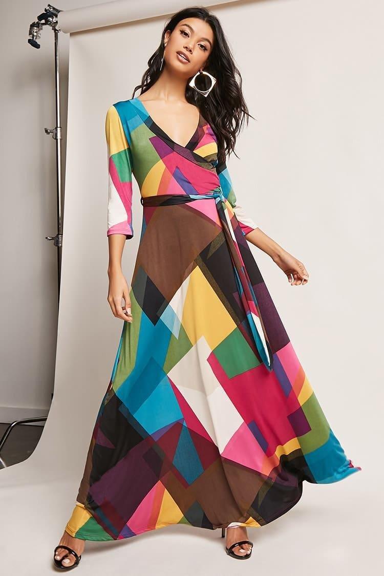 осень зима 2018 2019 длинное платье геометрический принт