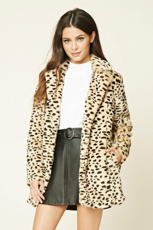 модные принты осень зима 2020: шубка леопардовый