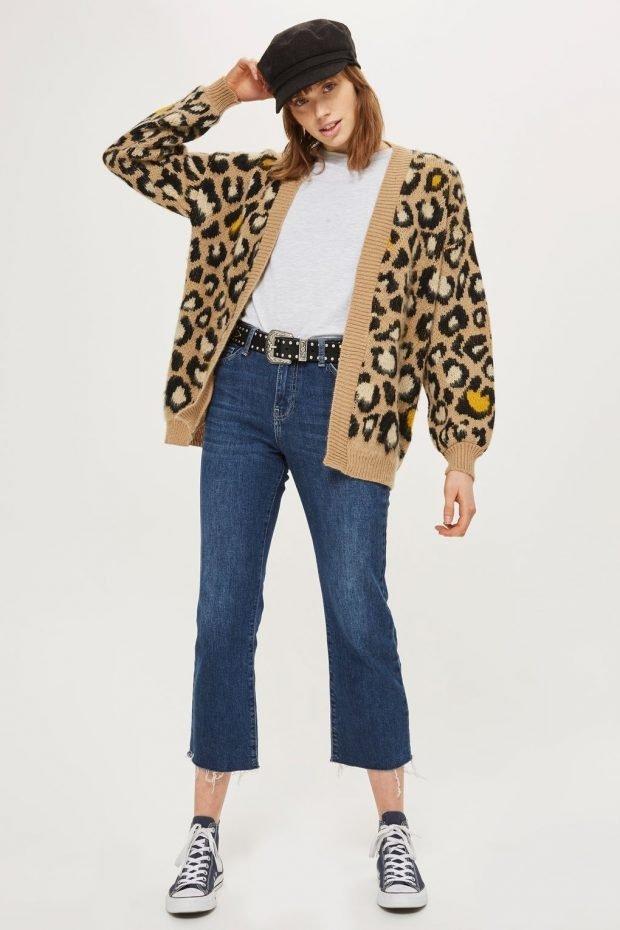 модные принты осень зима 2019 2020: кардиган леопардовый