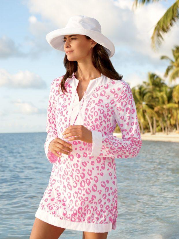 пляжная туника с розовым леопардовым принтом
