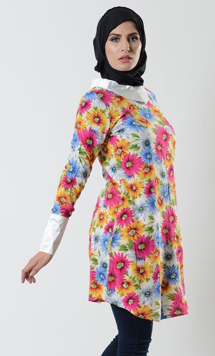 туника цветочный принт