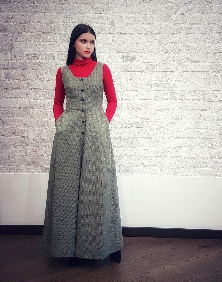 серое длинное платье-сарафан 2018 офисное
