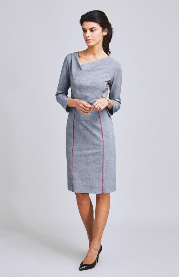 серое офисное платье миди 2018 2019