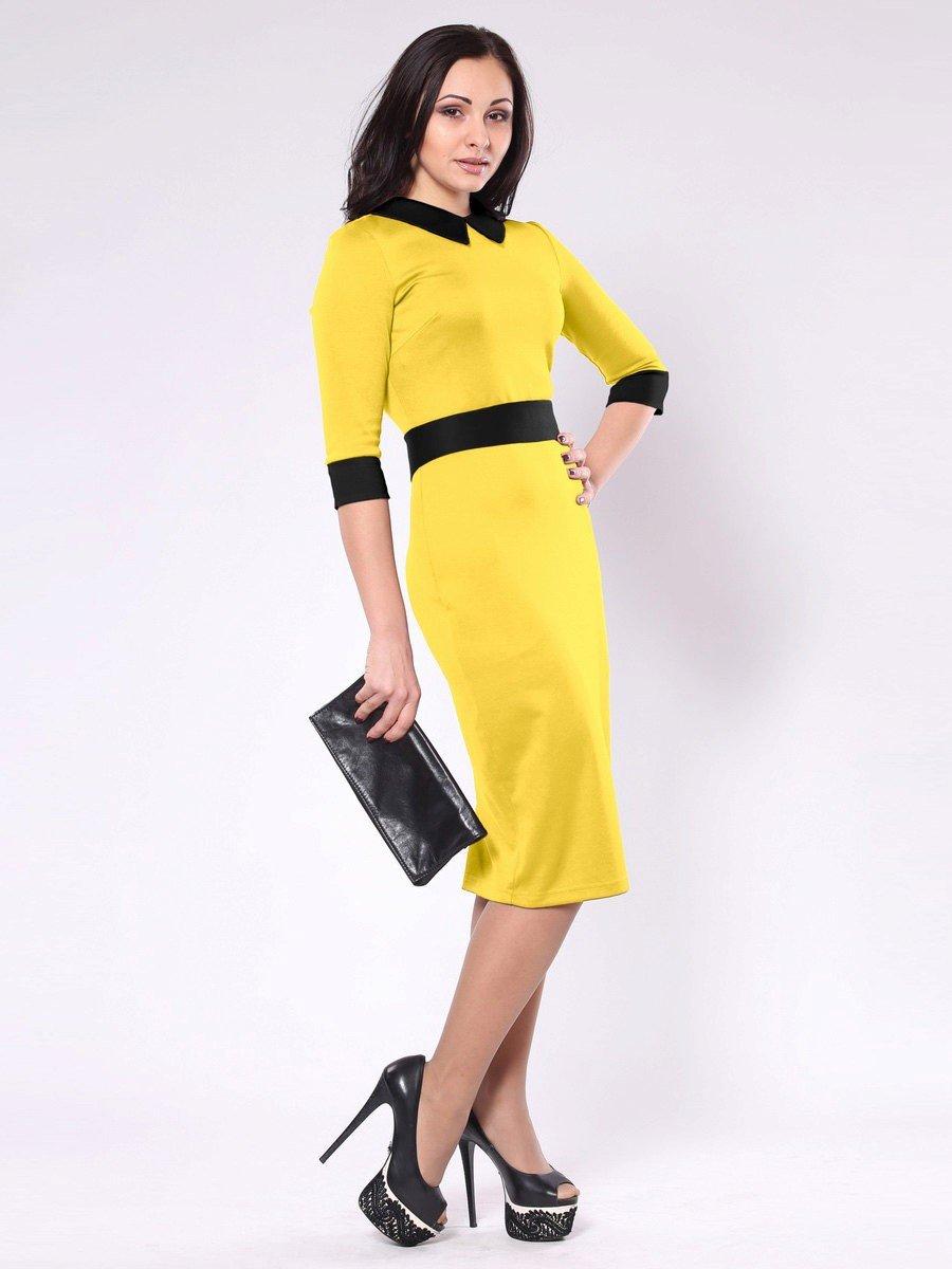 желтое офисное платье с черным воротником 2018