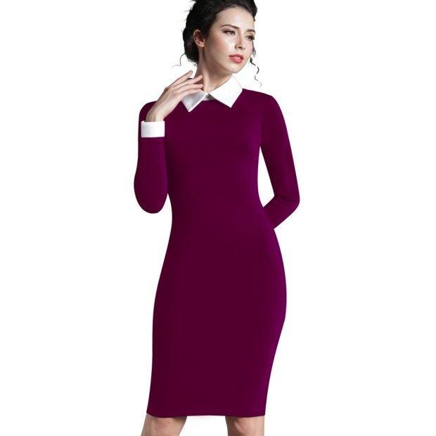 мода 2018 2019 фиолетовое офисное платье с белым воротником