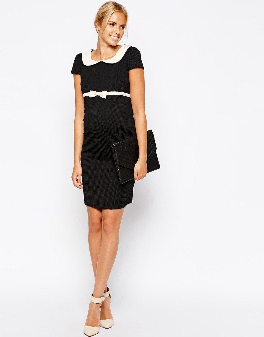 черное офисное платье 2018 с воротником и поясом