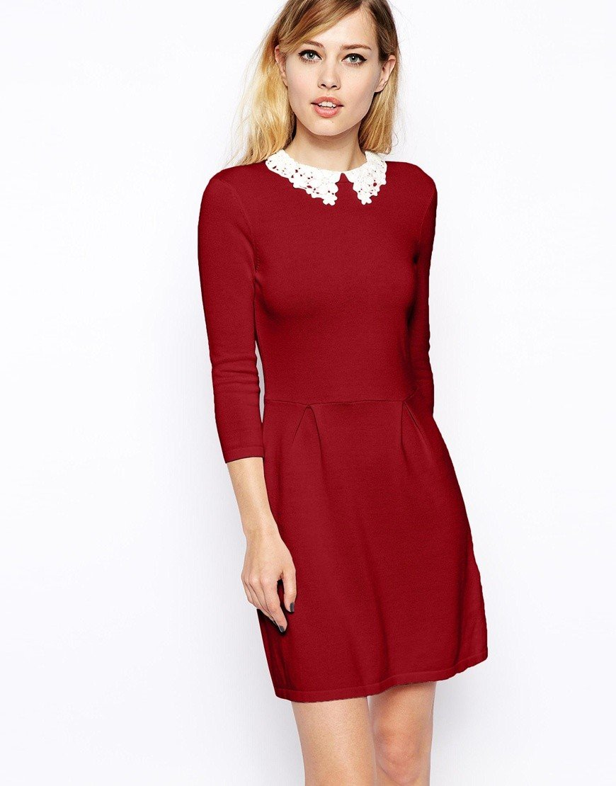красное офисное платье 2018 с белым воротником