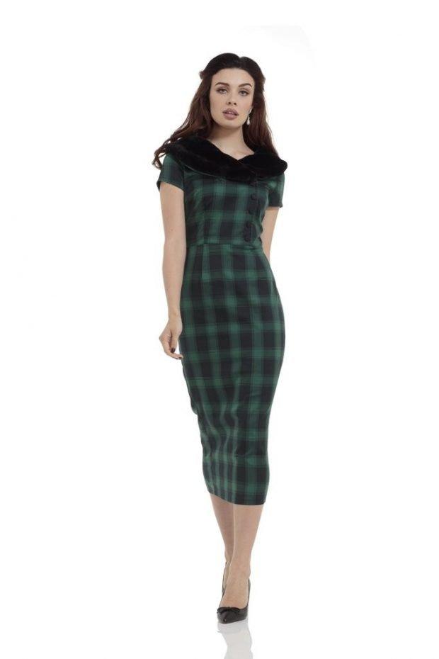 мода зеленое офисное платье в клетку с воротником 2018 2019