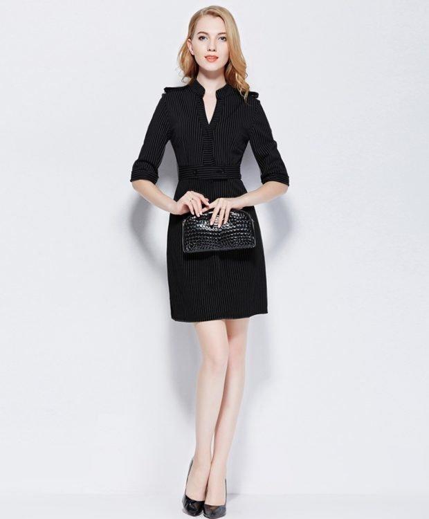 мода черное офисное платье с воротником-стойкой 2018 2019