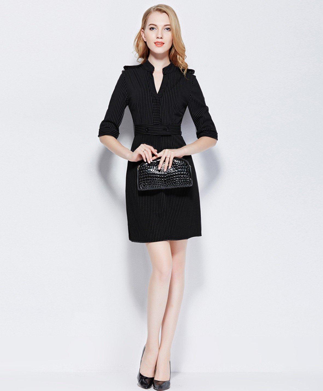 мода черное офисное платье с воротником-стойкой 2018
