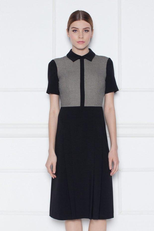 мода 2018 2019 серо-черное офисное платье с воротником