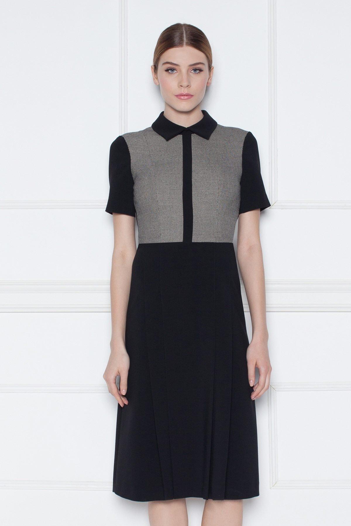 мода 2018 серо-черное офисное платье с воротником