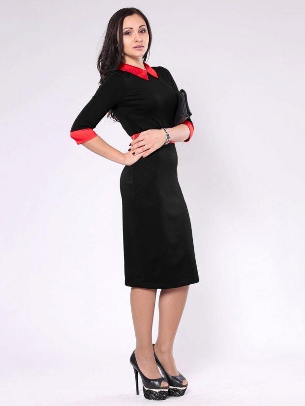 мода 2018 2019 черное офисное платье с красным воротником