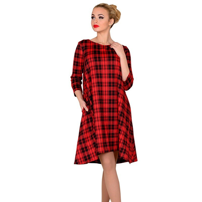 красное в клетку офисное платье А-силуэта 2018