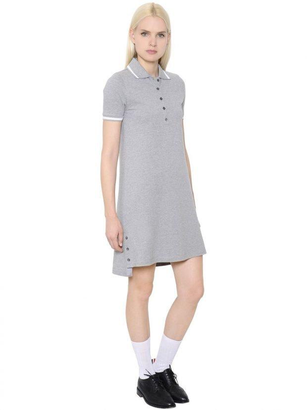 серое офисное платье А-силуэта модное