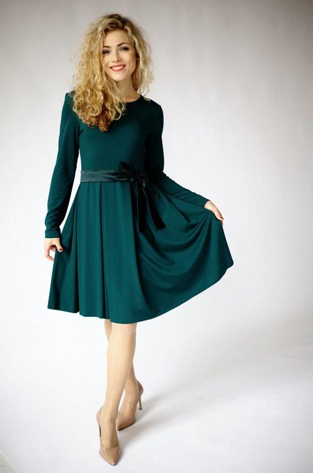 зеленое офисное платье 2018 2019 с длинным рукавом