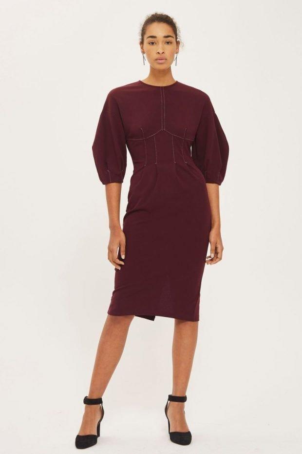 бордовое теплое платье для офиса модное
