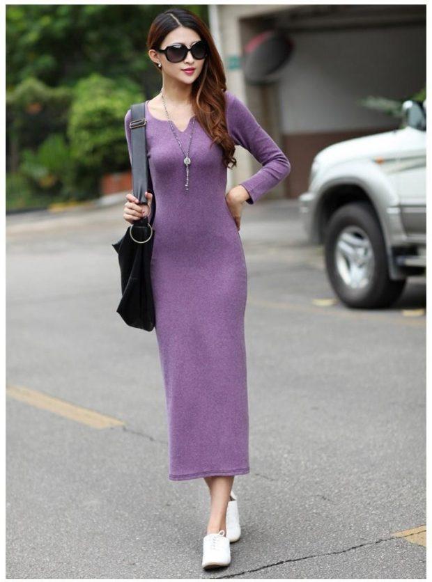длинное сиреневое теплое платье для офиса