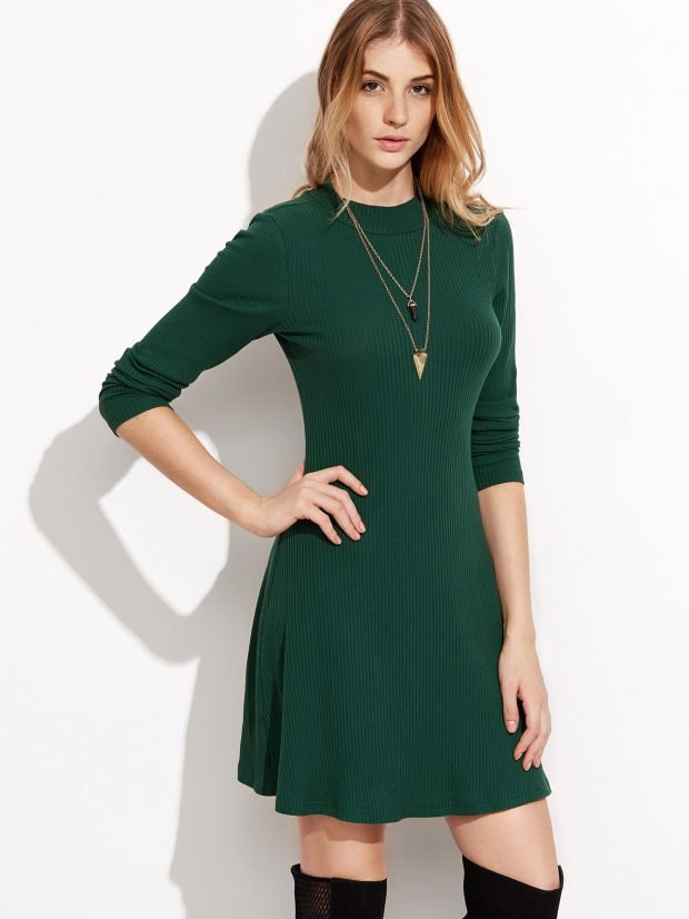 зеленое теплое платье для офиса модное