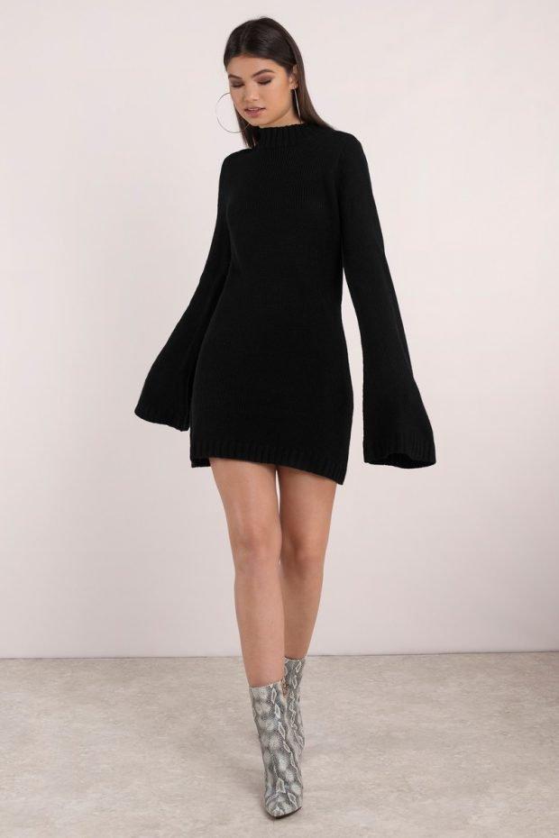 черное теплое платье для офиса с объемными рукавами