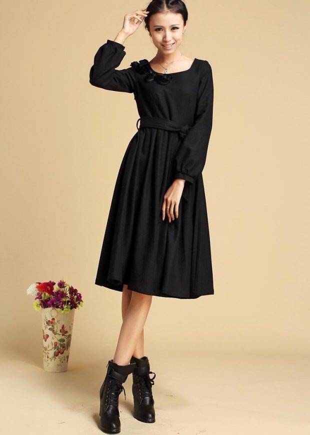 черное теплое платье миди для офиса модное