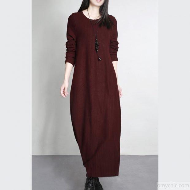 длинное бордовое теплое платье для офиса
