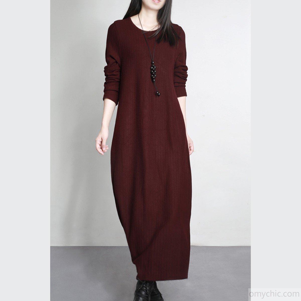 длинное бордовое теплое платье для офиса 2018