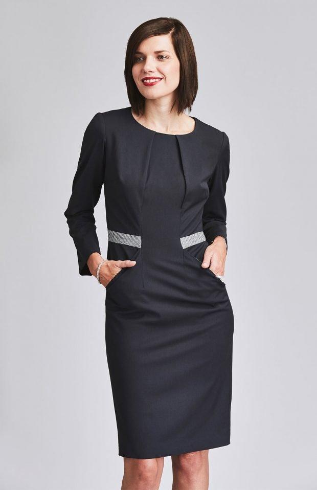 черное офисное платье 2018 2019 с длинным рукавом с карманами