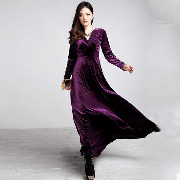 модное фиолетовое длинное нарядное платье