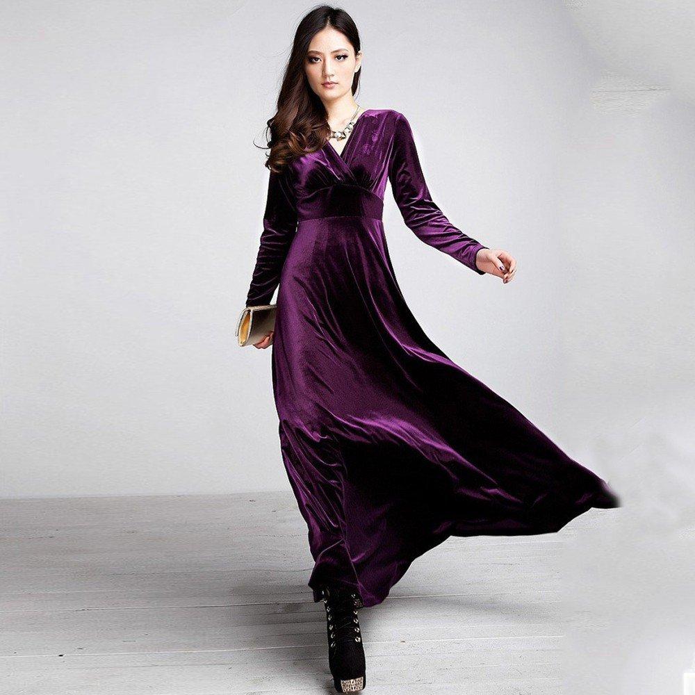 модное фиолетовое длинное нарядное платье 2018