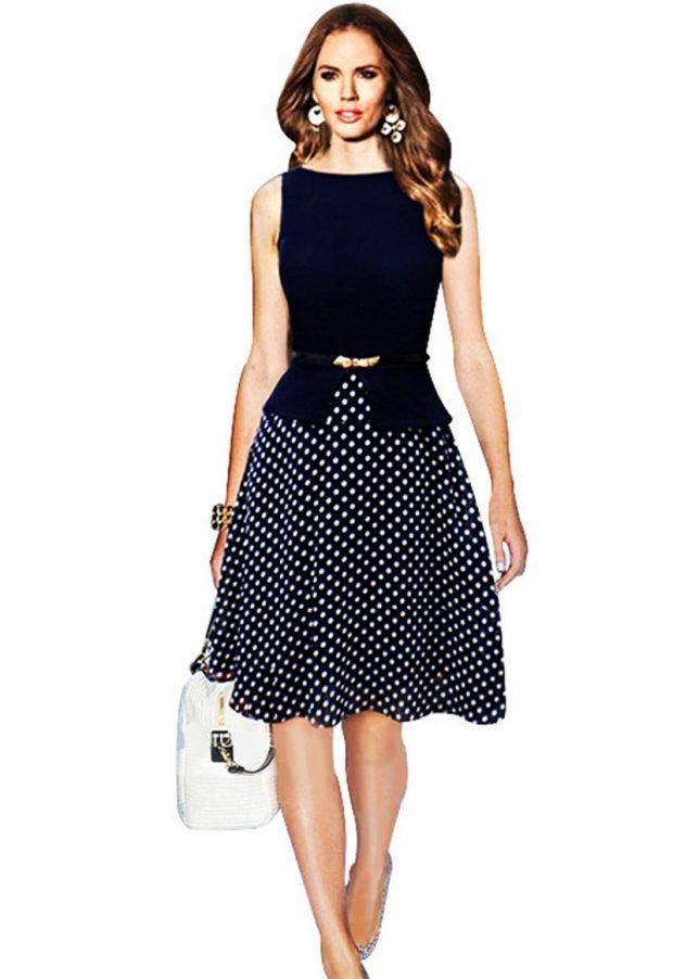 нарядное офисное платье с юбкой в горох мода