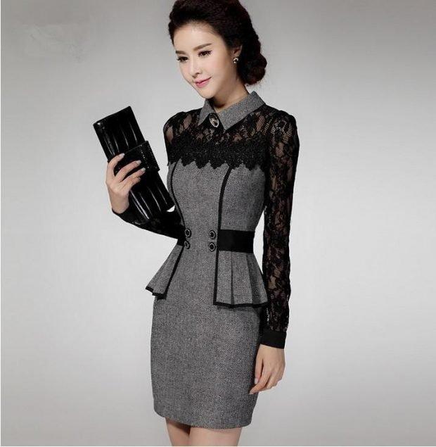 мода серое нарядное платье с кружевом для офиса