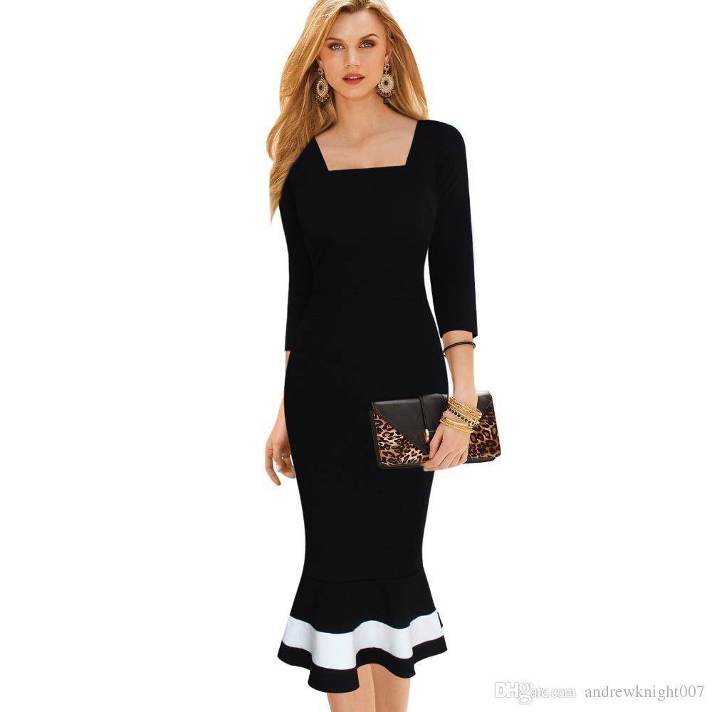 модное черное нарядное платье для офиса с белой полосой 2018