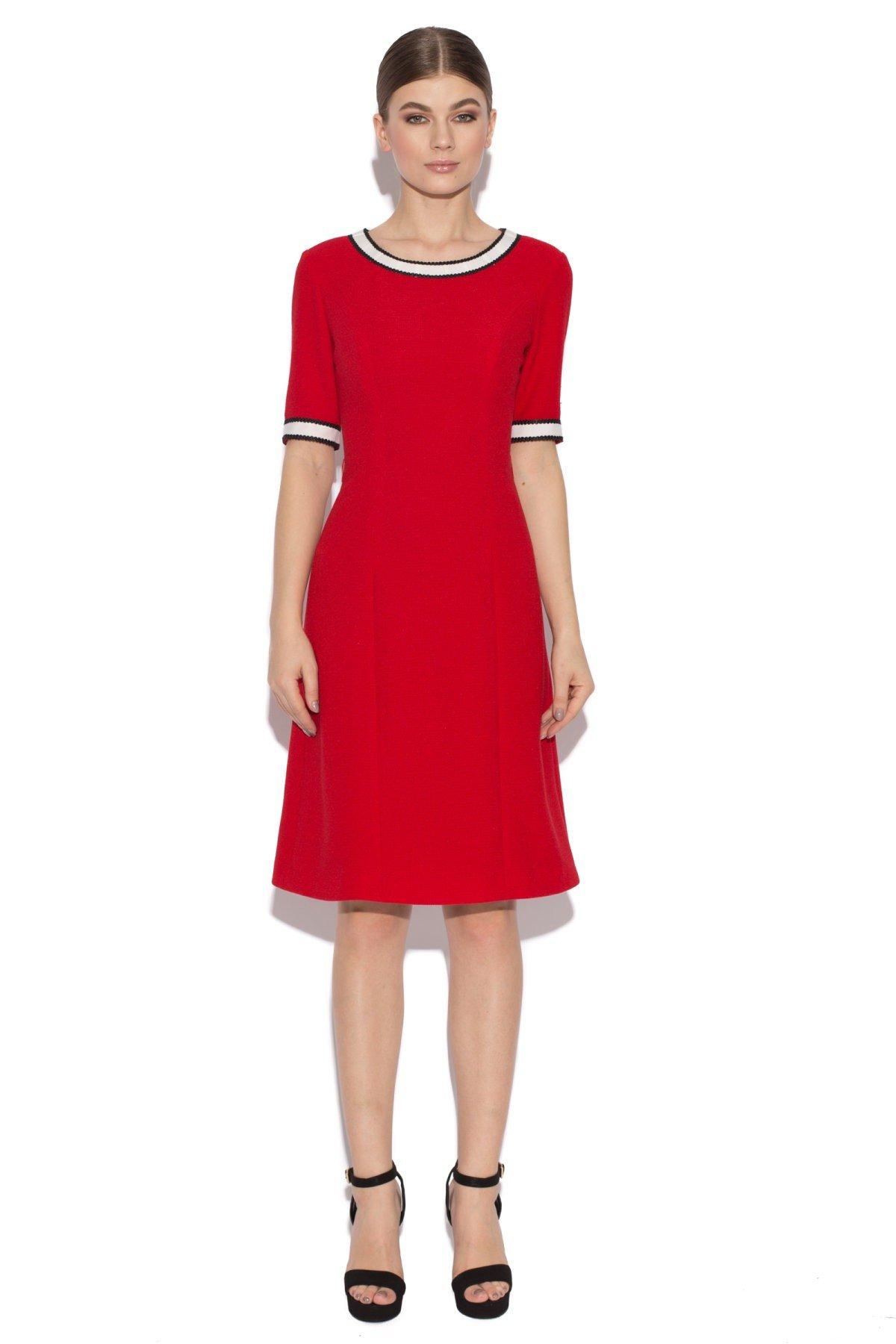 красное офисное платье 2018