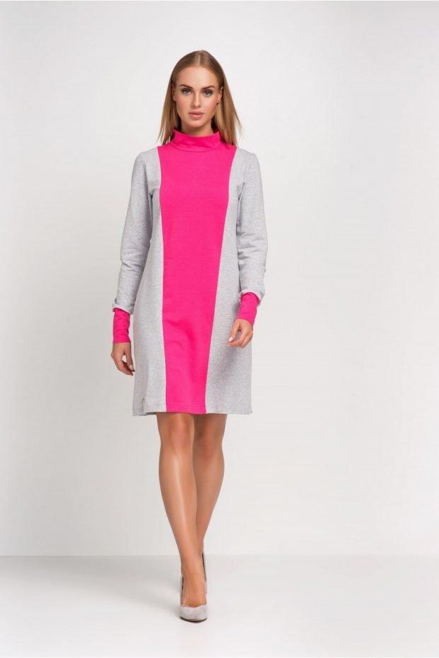 розово-серое офисное платье 2018 2019