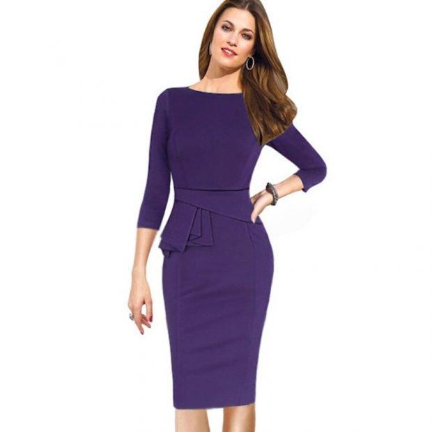 фиолетовое офисное платье с длинным рукавом 2019 2020