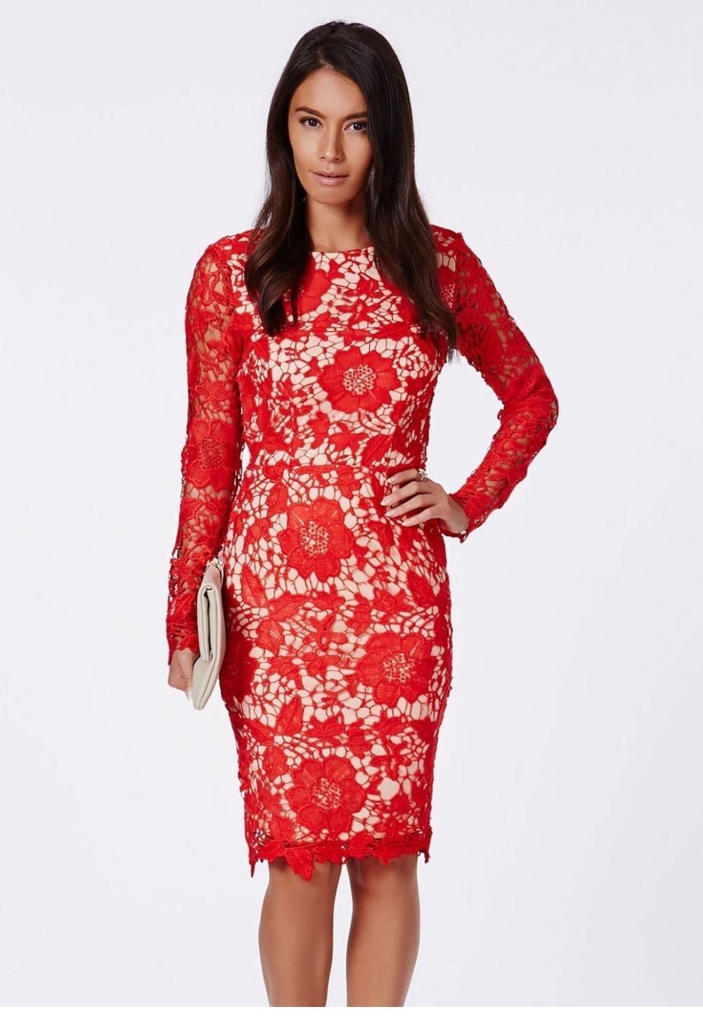 красное офисное платье 2018 из кружева