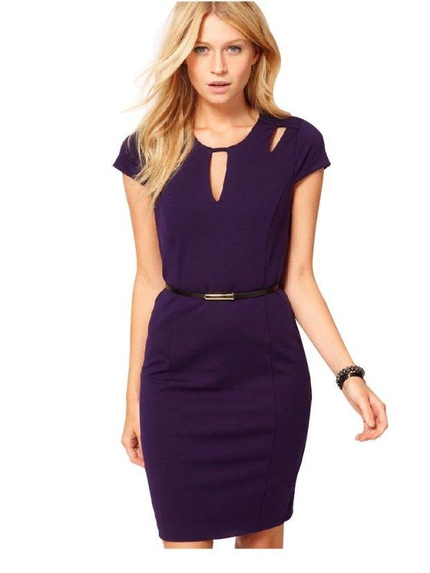 фиолетовое офисное платье 2018 2019 с коротким рукавом