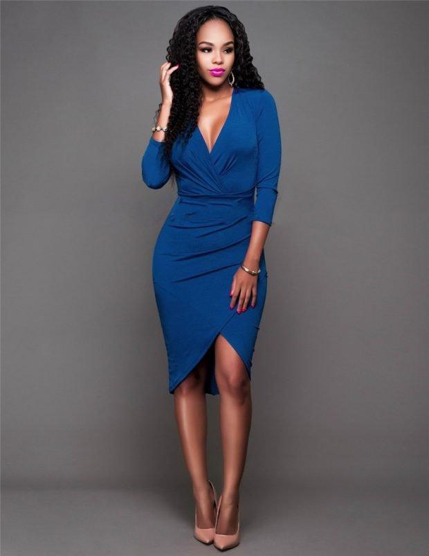 синее офисное платье 2018 2019 с длинным рукавом