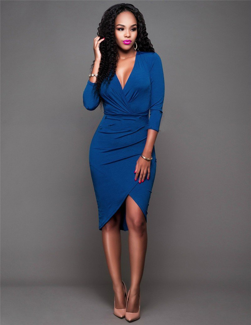 синее офисное платье 2018 с длинным рукавом