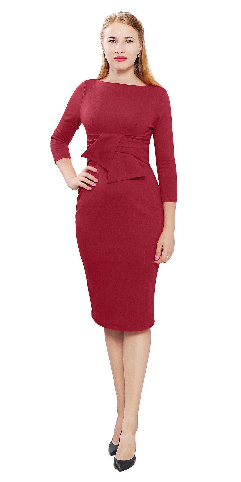 темно-красное офисное платье 2018