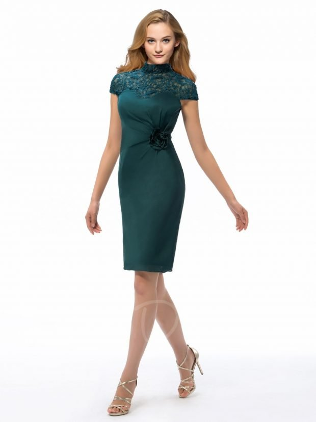 зеленое офисное платье до колен 2018 2019