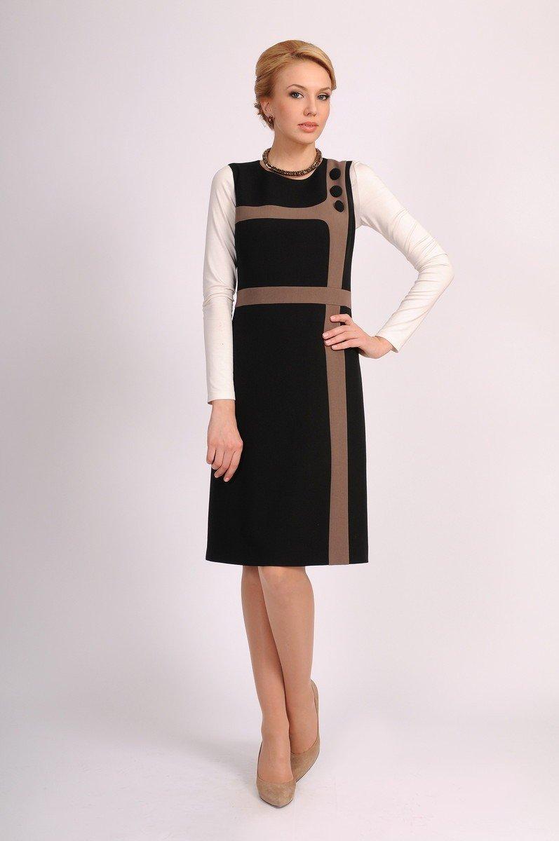 черное офисное платье-сарафан с контрастными полосами 2018