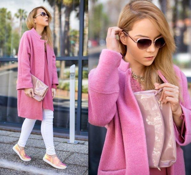 розовое пальто и белые джинсы с чем носить