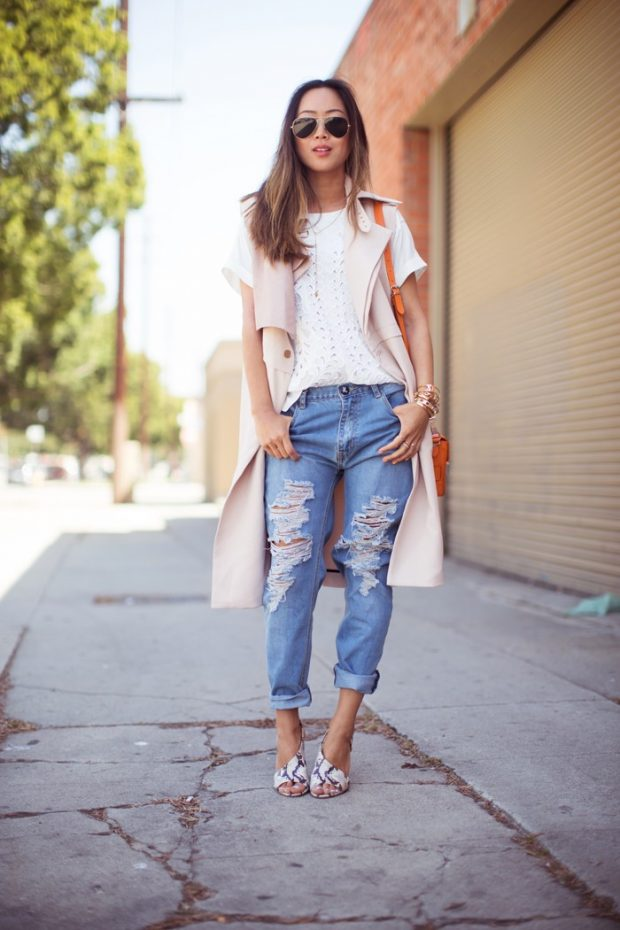 светлый кардиган с коротким рукавом и джинсы с чем носить